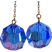 Vintage 60's Crystal Ball Earrings, Drop Disco