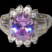 Vintage Cocktail Ring, Sterling Lavender / Blue Stone