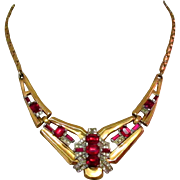 McClelland Barclay Necklace, Art Deco 1940's Red Rhinestone