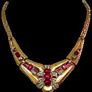 McClelland Barclay Necklace, Art Deco 1940's Red Rhinestone
