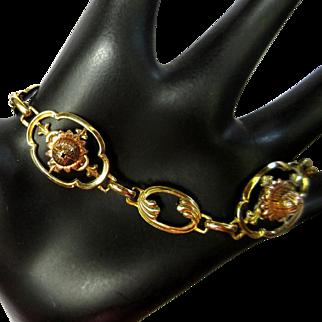 Vintage Bracelet, Floral Link, Gold Filled, Iskin