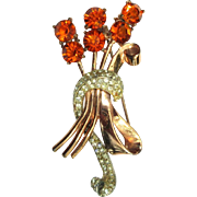 Corocraft Sterling Rhinestone Floral Bouquet Pin Pegasus 1940's