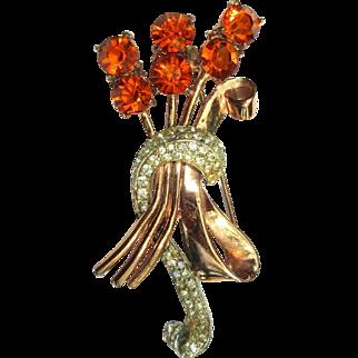 Corocraft Sterling Rhinestone Floral Bouquet Pin Pegasus 1940's