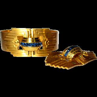 Coro Rhinestone Bracelet & Brooch, Art Deco Hinged