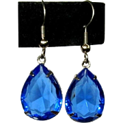 Vintage Crystal Earrings, Sapphire Blue Drops