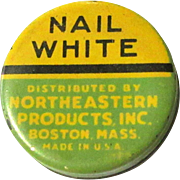 Vintage Cosmetic Tin, Nail White, 1920's '30's