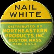 Vintage Cosmetic Tin, Nail White, 1920's '30's