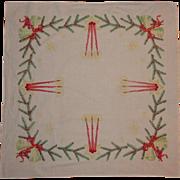 Vintage Christmas Tablecloth, Card Table
