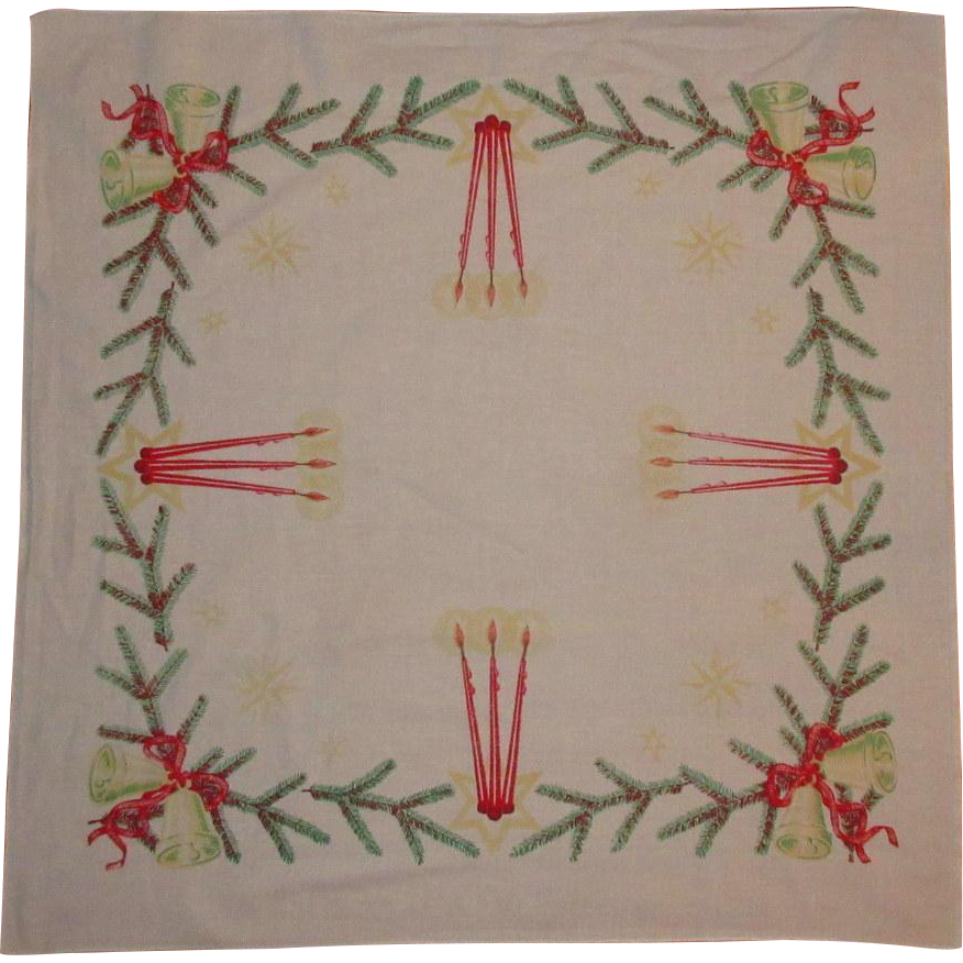 Vintage Christmas Tablecloth Card Table From