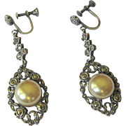 Sterling & Marcasite Earrings, Filigree Vintage Drops