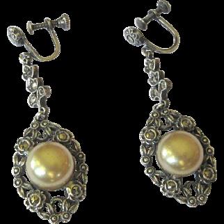 Sterling & Marcasite Earrings, Filigree Vintage Drops