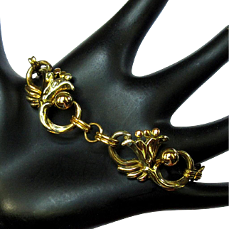 Art Nouveau Bracelet, Gold Filled Floral