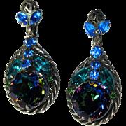 Juliana Rhinestone Earrings, Watermelon, Gunmetal