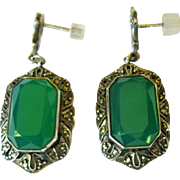 Art Deco Chrysoprase Earrings, Sterling & Marcasite, 14K Posts, Germany