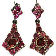 Garnet & Pink Tourmaline Earrings, Vintage Sterling Drops