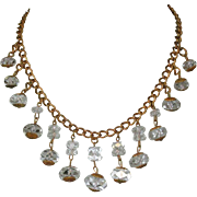 Vintage Crystal Necklace, 40's 50's