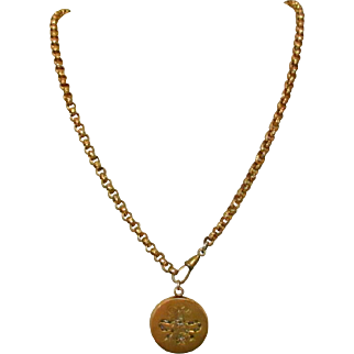 Watch Chain Necklace, Antique Gold Filled