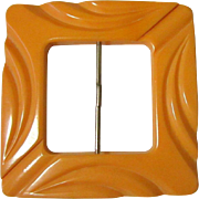 Bakelite Belt Buckle, Vintage Carved Butterscotch