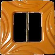 Bakelite Belt Buckle, Vintage Carved Butterscotch