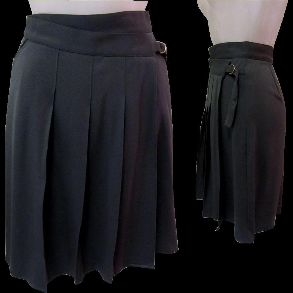 vintage pleated skirt wrap around designer from