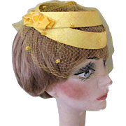 1950's Vintage Hat, Yellow Frame, Netting