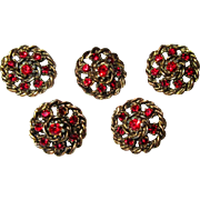 Five Rhinestone Buttons, Vintage Red & Metal Filigree