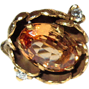 Vintage Orange Topaz Ring, Diamonds, 14K Floral, GIA