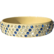 Celluloid Rhinestone Bangle Bracelet, Art Deco 20's Sparkle