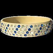 Celluloid Rhinestone Bangle Bracelet, Art Deco 20's Sparkle
