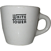 White Tower Coffee Cup, Vintage Restaurant Ware, 1951