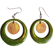 Bakelite Hoop Earrings, Vintage Deco Marbled Green