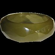 Lucite Bracelet, Vintage Diamond Faceted Bangle, 60's