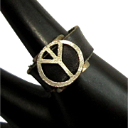Peace Sign Ring, 1960's Leather