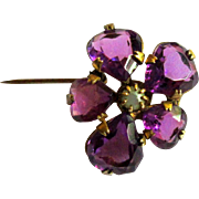 Victorian Pin, Purple Glass Brooch, GF Floral