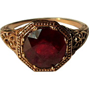 Vintage Ruby Ring, Rose Gold Filigree, 10K