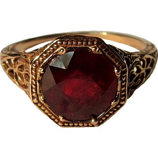 Vintage Ruby Ring, Rose Gold Filigree, 10K