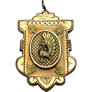 Victorian Tri-Color Rolled Gold Locket, Peacock