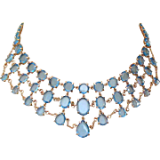 Crystal Necklace, Blue Festoon, 1950's Vintage Glamor