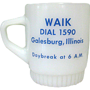 Fire King Advertising Mug / Galesburg Radio WAIK