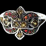 Sterling Ring, Vintage Fleur de Lis, Opal & Topaz