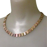 Victorian Book Chain Necklace, Tri Color Rolled Gold