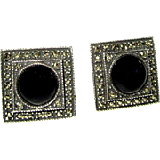 Vintage Judith Jack Earrings, Sterling Marcasite
