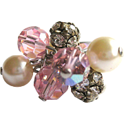 Vintage Crystal Ring, Glass Pearls,Rhinestone Cha Cha