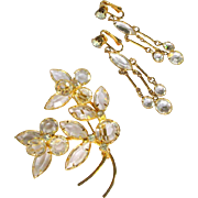 Crystal Drop Earrings & Flower Brooch, Vintage Rhinestone