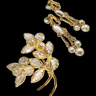 Crystal Drop Earrings & Flower Brooch, Vintage Rhinestone