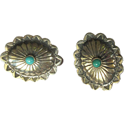 Sterling Silver Concho Earrings, Vintage Native American