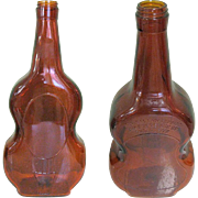 Large Violin Bottle, Vintage Owens Glass, Illinois