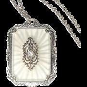 Camphor Glass Necklace, Filigree Paste Pendant, Art Deco