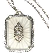 Camphor Glass Necklace, Filigree Paste Pendant, Art Deco