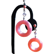 1960's Pink Moonglow Earrings Lucite Hoop Drop Vintage
